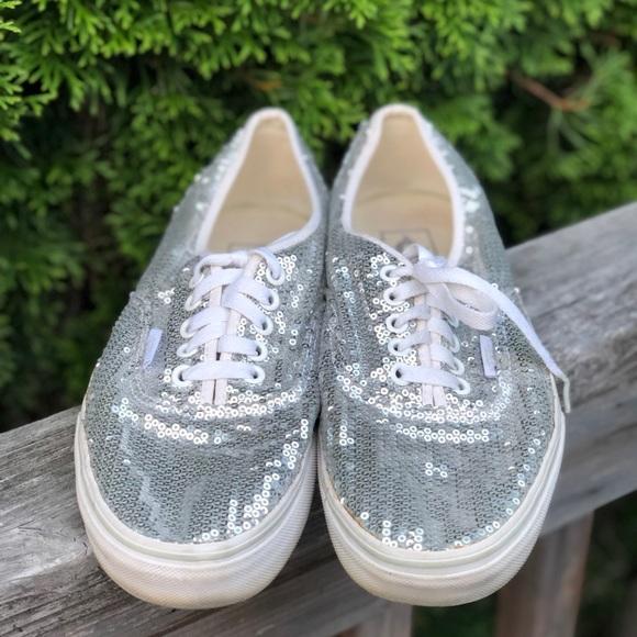3edbd9f67fbd Vans Shoes | Silver Glitter Dots Lace Up Sneakers M85w10 | Poshmark